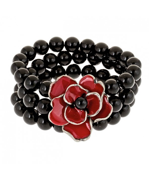 Criss Angel the Jewelry Black Bead and Red Poppy Bracelet