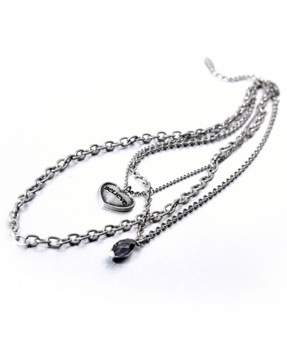 Criss Angel the Jewelry Triple Chain Heart Necklace