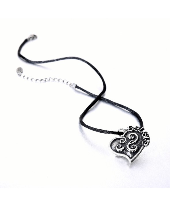 Criss Angel the Jewelry Black Satin Silver Tone Follow Your Heart Necklace