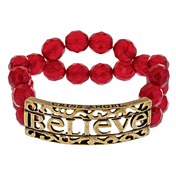 Criss Angel the Jewelry Believe ID Beaded Bracelet - Red w. Gold-0