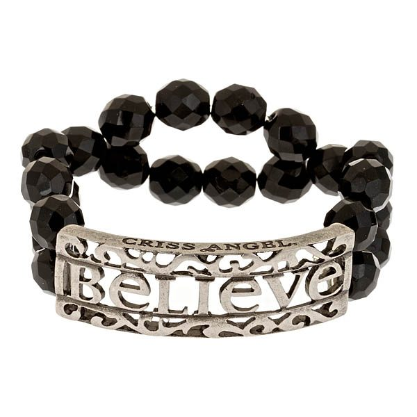 Criss Angel the Jewelry Believe ID Beaded Bracelet - Black w. Silver-0