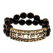 Criss Angel the Jewelry Believe ID Beaded Bracelet - Black w. Gold-0