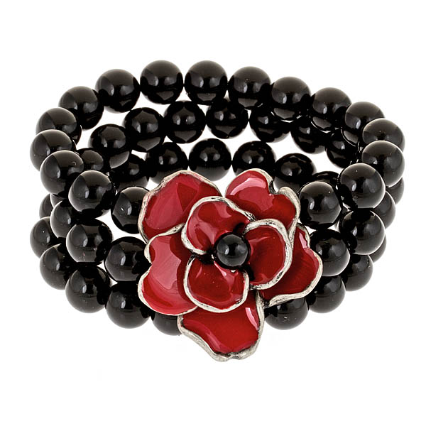 Criss Angel the Jewelry Black Bead and Red Poppy Bracelet-0