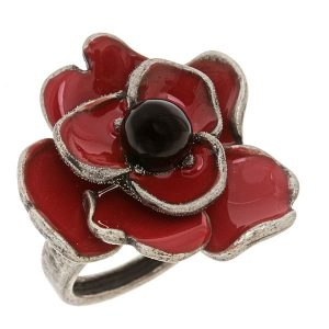 Criss Angel the Jewelry Red Enamel Poppy Ring (Size 8)-0