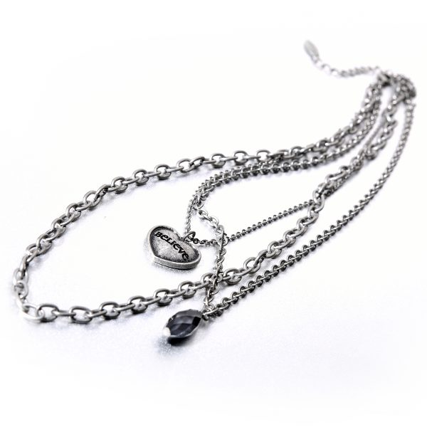 Criss Angel the Jewelry Triple Chain Heart Necklace-0