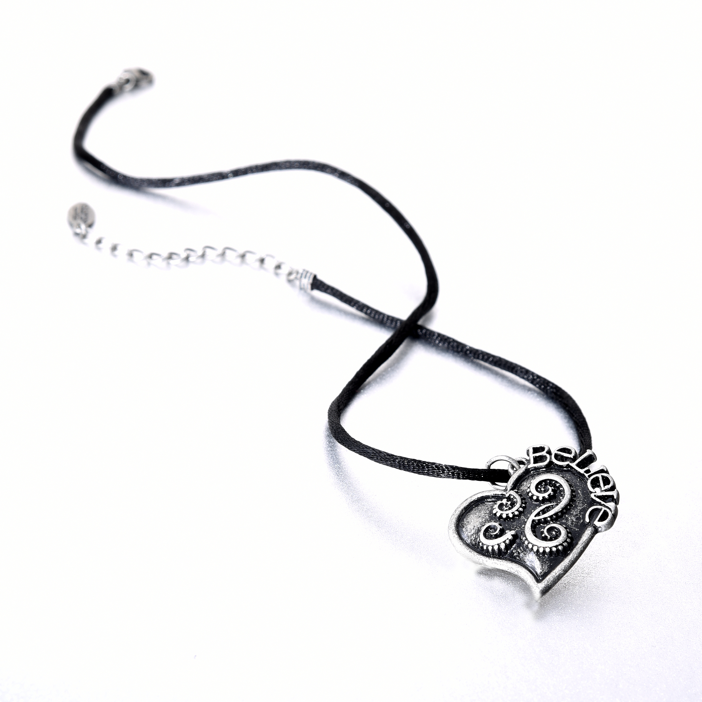 Criss Angel the Jewelry Black Satin Silver Tone Follow Your Heart Necklace-0